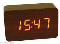 Orologio Sveglia Termometro Da Tavolo Rettangolo Legno Marrone -  - ebay.it