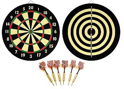 "DART BOARD + 6 BRASS DARTS FLAG CHECKERS 16.5"" inch NEW!"