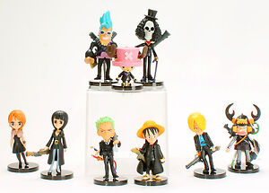 One Piece Strong World Mini Figures Luffy Nami Sanji Choppe Zoro Toys Black Suit