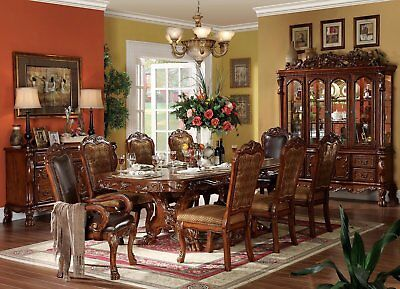 "Dresden 108""Double Pedestal Dining Room Set Table&4 Chair Cherry Oak Carved Wood"