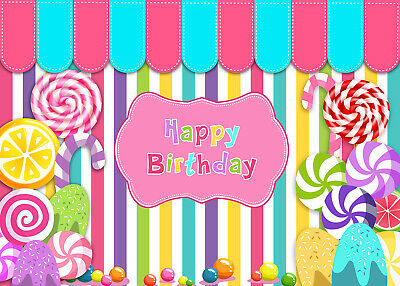 Candy Land Birthday Lollipop Banner Background Children Photo Backdrop Props - Candyland Banner