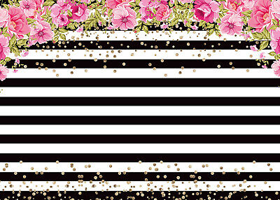 7x5ft Vinyl Black and White Striped Backdrop Pink Floral Photography Background](Black And White Striped Backdrop)