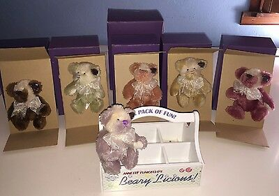 "Annette Funicello Collectable Bear Company ""Beary 'Licious"" Collection of 6 Moha"