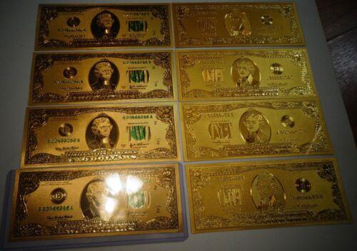 LOT OF 10 *24 KARAT 99.9% GOLD US 1976 $ 2 BILL-GREEN SEAL-RIGID PVC BILL HOLDER