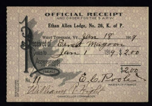 OFFICIAL RECEIPT - 1911 - KNIGHTS OF COLUMBUS, Vermont -  KNIGHTS OF PYTHIAS
