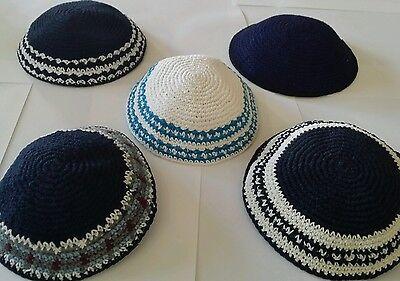 LOT 5 Kippah Kippot Kipa Jewish Judaica Handmade Knitted kippah Yarmulke Yamaka