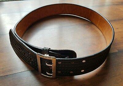 DON HUME Black Wide Leather Basketweave Police Officer Duty Belt w/Buckle B101 - Police Officer Belt