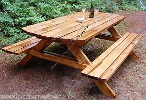 PICNIC TABLE W/ BENCHES Paper Plans EASY DIY PATTERNS Build Your Own ...