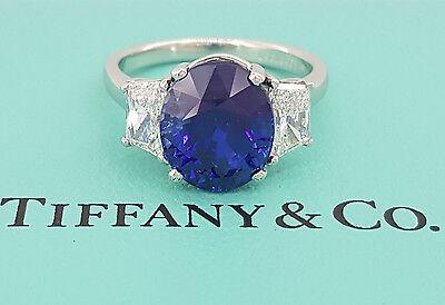 Vintage Tiffany & Co 6.55 ct Platinum Oval Royal Blue Sapphire & Diamond Ring
