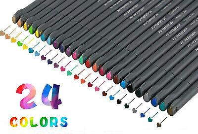 24 Colors point Fineliner Color Pen Different 0.4mm Pen Set Art Painting Markers