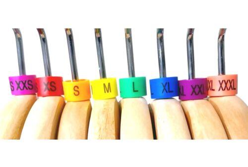 100 PCS Colored Hanger Sizer Garment Markers XXS-XXXL Plastic Size Marker Tags