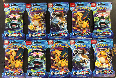 Pokemon XY EVOLUTIONS BOOSTER PACK LOT OF 10 Factory Sealed Packs