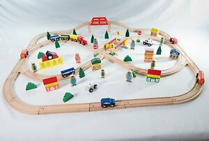Traditional-Wooden-Train-Set-100-pieces-Compatible-with-Brio-BigJigs-Big-jigs