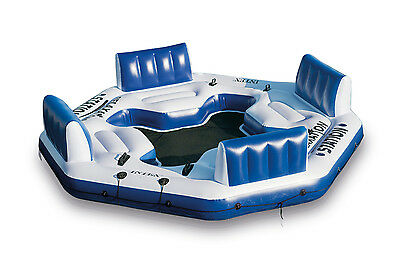 Intex Pacific Paradise Relaxation Station Water Lounge 4 Person River Tube Raft