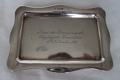 ANTIQUE 1921 STERLING / SOLID SILVER TRINKET / JEWELLERY DISH / TRAY
