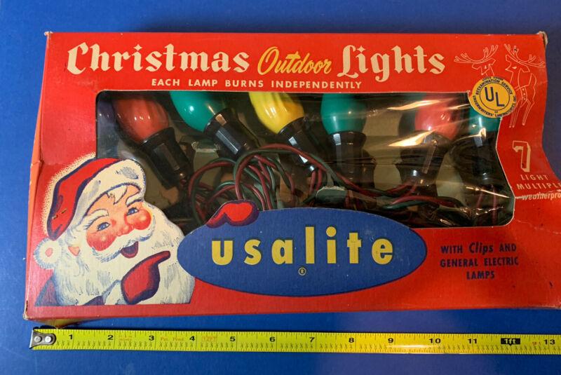 Vintage 1940s USALite Christmas String Lights Multi-Colors Santa Box Working