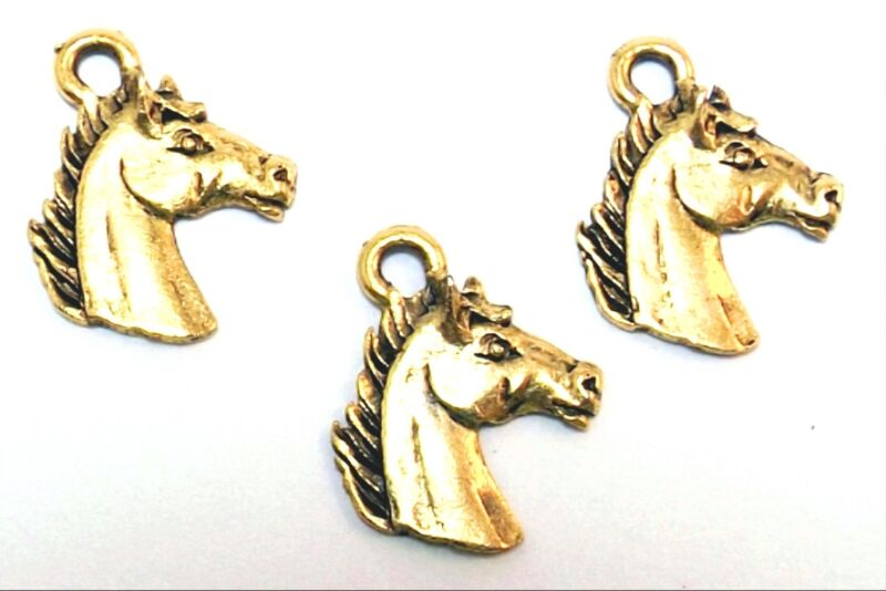 Set of Three (3) Gold Tone Pewter Horse Head Charms - 5357
