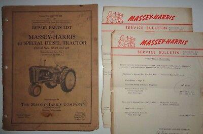 Massey Harris 44 Special Diesel Tractor Parts Catalog Manual Mh Original 554