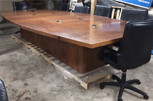 Solid wood boardroom table with inlay and some history!