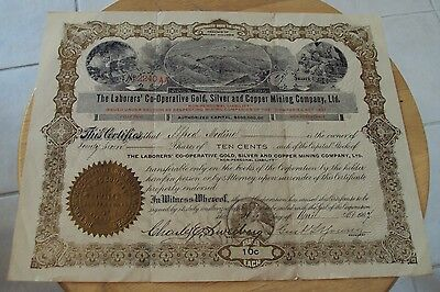 1904 Stock Certificate 27 Shares  Laborers Co Op Gold Silver Copper Mining