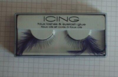Icing Faux Eyelashes with Purple Feathers & Eyelash Glue