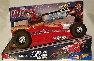 Hot Wheels Avengers Iron Man Moto Launcher Marvel Captain America Race & Launch