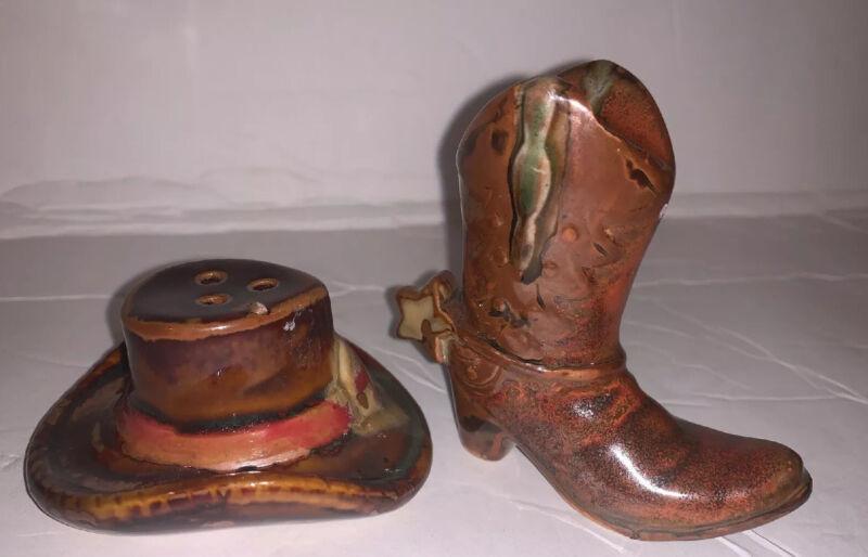 Cowboy Hat Boot Salt Pepper Set Earthenware Brown  K2