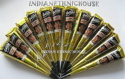 12 BLACK COLOR HERBAL HENNA CONES Temporary Tattoo Body ART INK HINA KIT Mehandi