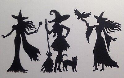 "Halloween Witches 6 Pcs Black Die Cut Embellishments 3-1/4"" x 2-1/4"""