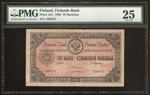 FINLAND 10 MARKKAA 1889 P:A51  VF
