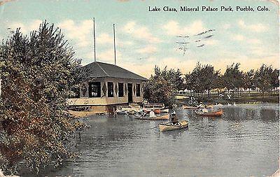 Colorado postcard Pueblo, Lake Clara, Mineral Palace Park boating ca 1910
