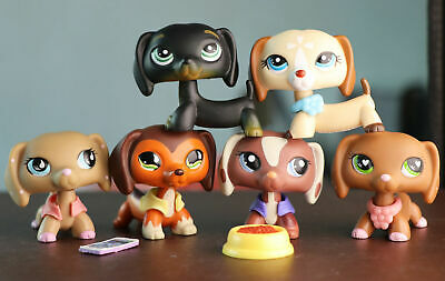 6Lot Littlest Pet Shop LPS Dachshund Dog Puppy Collection Toys with Clothes Rare