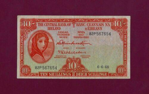 IRELAND REPUBLIC 10 Shillings 1968 P-63 VF+ KEY DATE