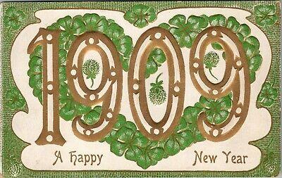 New Year~Large Number 1909~Shamrock Heart~Gold Green Embossed~Williamson Haffner