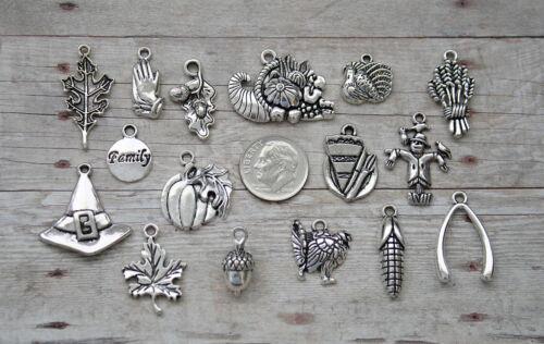 16pc or 5pc Thanksgiving Charm Set Lot Collection/Cornucopia,Turkey,Pray,Family