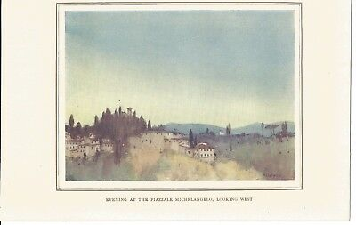 EVENING AT THE PIAZZALE MICHELANGELO LOOKING WEST ANTIQUE PRINT 1913