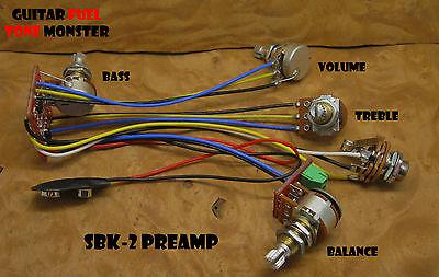 TONE MONSTER SBK-2 Bass Guitar Preamp Balance Volume Treble Bass 4 Pots