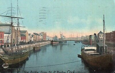NEW BRIDGE FROM ST PATRICKS BRIDGE CORK IRELAND PHILCO SERIES POSTCARD SENT 1937