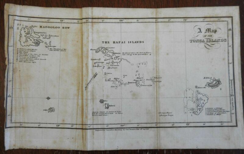 Tonga Islands Pacific Ocean Oceania 1822 Thomson scarce engraved map