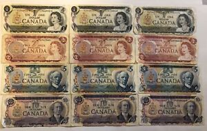 Old Canadian banknotes money cash