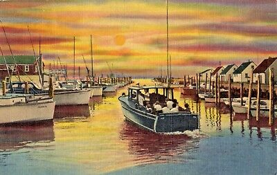 Fishing Boats at Sunset in Long Beach Island NJ 1951
