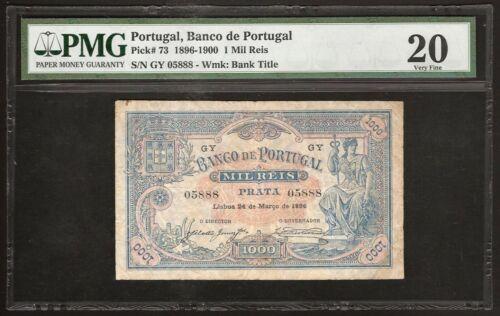 PORTUGAL 1000 REIS 1896 P:73 VF