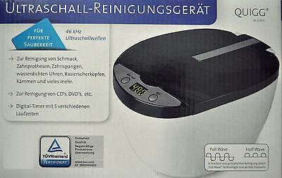 QUIGG Ultraschall-Reinigungsgerät Digital-Timer 5 Laufzeiten inkl. Zubehör /NEU!