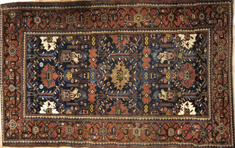 Tremendous Tribal - 1920s Antique Oriental Rug - Nomadic Carpet - 4.6 X 7.1 Ft.