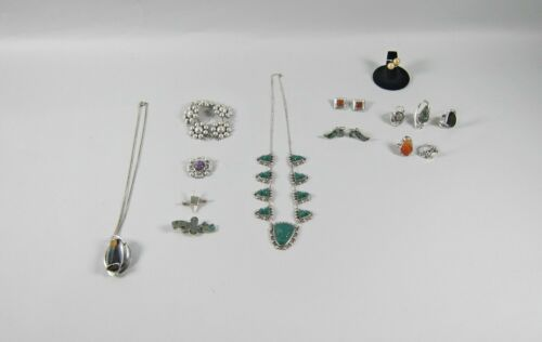 Huge Lot of 16 Mid Century Mexican Designer Jewelry Some Signed Taxco Modernist
