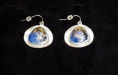 Multi Stone Dangle - Chico's Pierced Earrings Silvertone Blue Multi Colored Faux Stone Dangle Hook