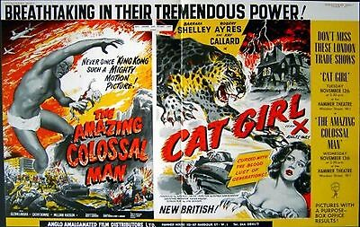 AMAZING COLOSSAL MAN 1957 Glenn Langan CAT GIRL Barbara Shelley TRADE ADVERT