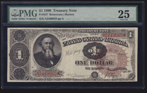 US 1890 $1 Treasury Note FR 347 PMG 25 VF Looks XF!! (-045)