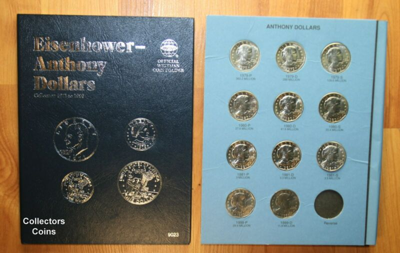 1979-1999  $1 Susan B Anthony Dollar Complete 11 coin PDS BU Set wWhitman Folder