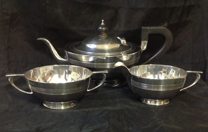 1909 & 1915 E S Barnsley & Co Solid Silver Art Deco Three Piece Tea Set. 749g